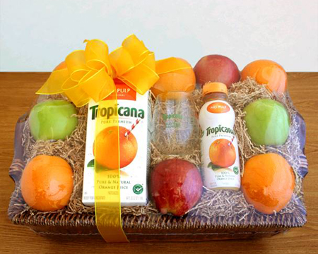 This Tropicana gift basket could be yours! Well, not THIS one, because that would be gross, but one very similar.