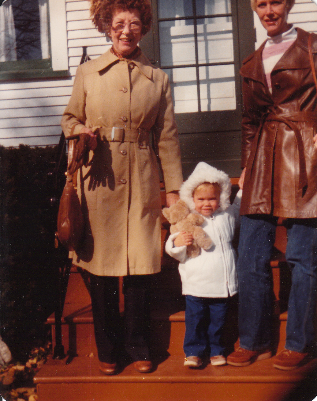 Grandma Sara, me, and Mom on Grandma's front porch.