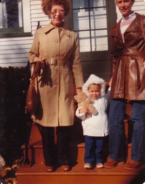 Grandma Sara, me, and Mom on Grandma's front porch.