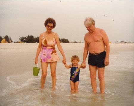 Grandma Sara, Grandpa Chuck and me in Treasure Island, FL, 1983