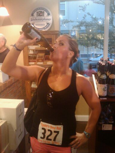 kristen post race beer